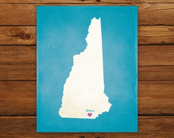 Customized Printable New Hampshire State Map - DIGITAL FILE, Aged-Look Personalized Wall Art