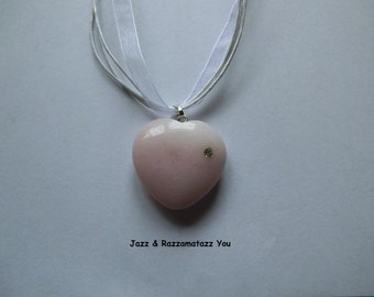 Handcrafted Pink Heart Agate Stone Necklace