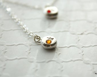 Personalized Jewelry , November Birthstone Necklace , Topaz Crystal Necklace , Silver Initial Necklace