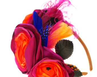 Statement Haarreifen folklore Mexico Bucovina rot große Blumen Headpiece Blütenkranz bunt Federn Brautschmuck haarschmuck fascinator groß