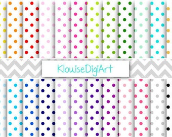 Rainbow and Pastel Small Polka Dot Spots on White Printable Digital Papers for Personal or Commercial Use (0017)