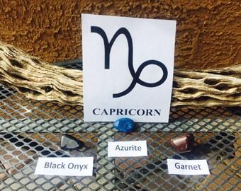 Capricorn Astrology Stone Set / Capricorn Zodiac Stone Set / Black Onyx / Azurite / Garnet + Reiki Charged