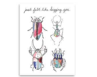 Just Because Greeting Card / Beetles / Bugs / Friendship Card / Hello Card / Nature Card / Mishka Marie Art