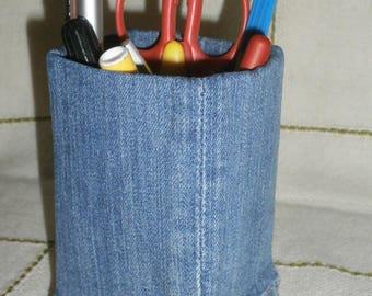 Creative desk pen pencil holder handmade Recycled Denim square #10