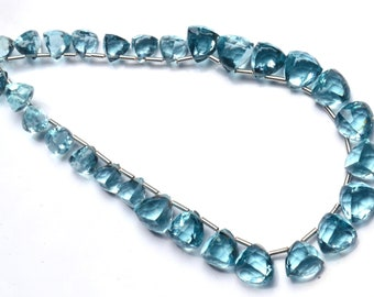 Aquamarine Color Quartz Faceted 6 to 8MM Approx. 3D Trillion Shape Briolette Beads 9 Inch Full Strand Super Fine Quality Beads