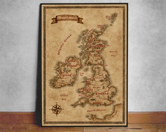 British Isles fantasy map, Fantasy design UK and Ireland map, Map of British Isles, Great Britain map poster, Illustrated UK map, Geek gift