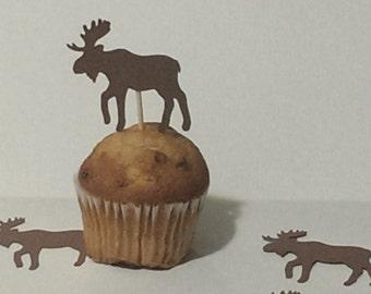 12 Moose Party Picks - Cupcake Topper - Toothpicks - Food Picks Die Cut Punch Cardstock