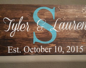 Family Names Monogram Wood Sign
