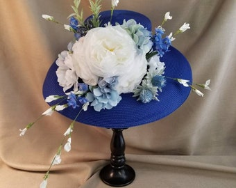 KENTUCKY DERBY HAT Bright Blue and White Large Brim Women's Hat