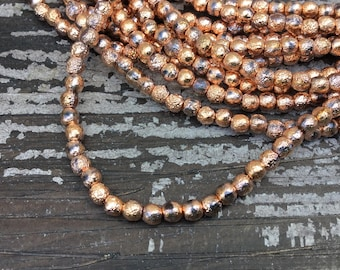 4mm copper ore etched smooth round druk czech beads, copper and black czech glass beads