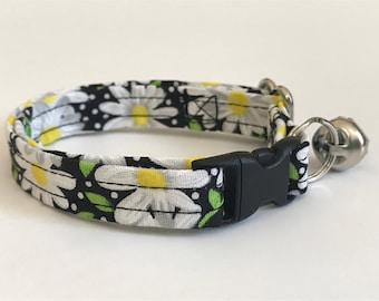 Daisy daisies and dots on black print kitten or cat collar - you choose the size