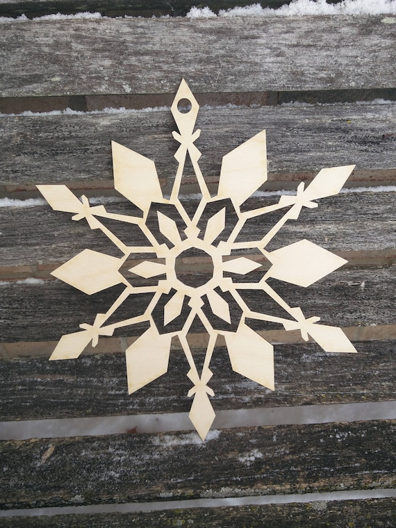 Snowflake Door Hanger. 9.5 Inch. Large Laser Cut Wood. Christmas, Holiday Decoration, Gift. Mom, Dad.
