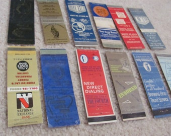 Lot of 12 Assorted Vintage Antique Older Matchbook Matches Covers (#8) Banks