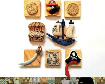 Pirate Magnet Set [Fridge Magnets, Fridge Magnet Sets, Refrigerator Magnets, Magnet Sets, Office Decor, Kitchen Decor, Magnetic Board]
