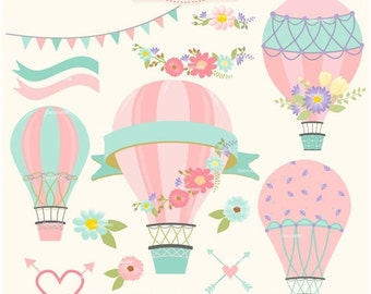 ON SALE Hot Air Balloons clipart, hot air balloon clipart, balloon label clipart, shabby chic, instant download clipart
