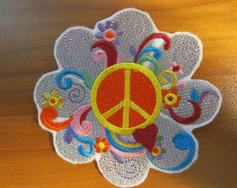 Embroidered Peace Sign Iron On Patch, Peace Sign, Iron On Patch, Peace, Applique Patch