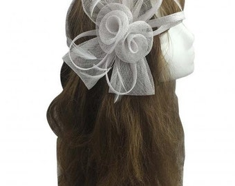 Stunning White Sinamay Bow and Feathers Hair Fascinator With Headband n Clip
