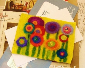 Funny Flowers Needle Felted Postcard