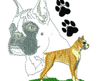 BOXER PORTRAIT - Machine Embroidery Design - dog pet