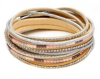 Beige, Leather Crystal Wrap Bracelet / Choker