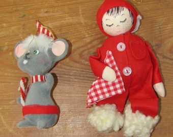 2 very cute vintage ornaments mouse and sleeping child