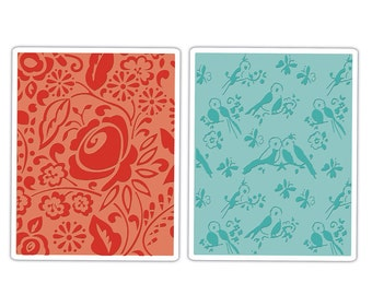 Sizzix Textured Impressions Embossing Folders 2PK - Birds & Blooms Set 657393