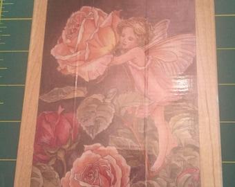 Rose Flower Fairy Rubber Stamp - Brand New