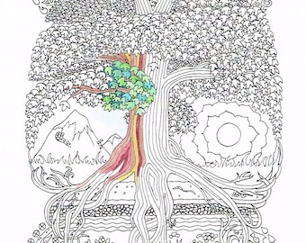 Adult Coloring Page - Peace Sign Tree - Printable line art to print and color