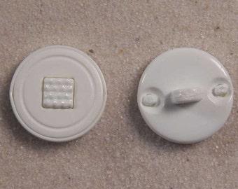"Set of 100 JHB Intl White Round Plastic Buttons Square Center 9/16"" 15 mm lyk0018"