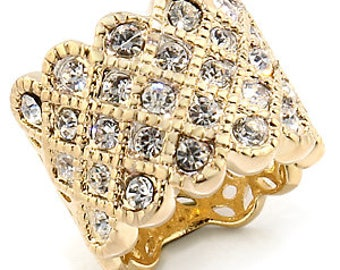 Ring - reflo481-gold plated - set CZ over 180 degrees