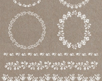 4 frames and 4 white borders, flowers, floral, roses, png digital files. no background, high resolution - 300 dpi