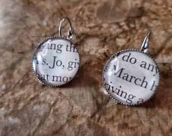 Little Women March sisters book page earrings