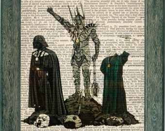 Star wars art, harry potter art, LOTR print, lord of the rings, darth vader print, voldemort, harry potter print, harry potter mash up, art