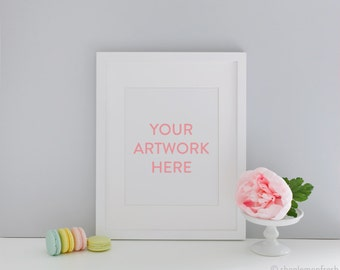 White Frame with Pink Peonies Styled Digital Artwork Image - Instant Download Stock Photography, Styled Stock Photography, Digital Image