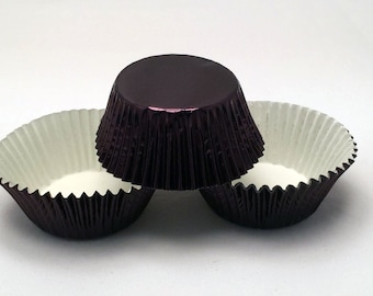 48 Black Foil Standard Size Cupcake Liners Baking Cups