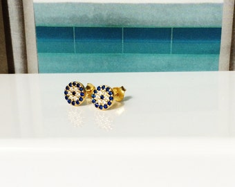 Evil Eye Earrings • Stud Gold Plated Sterling Silver • Waterproof • Post Back • Beautifully Pave With Cubic Zirconia • Priced For a Pair