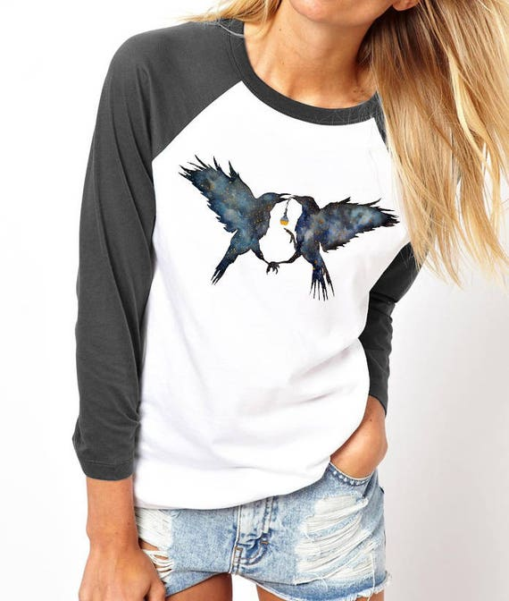 Magic Ravens | Unisex Raglan T-Shirt |Shamanic crow | Elixir Potion | Galaxy | Witchcraft | Spirit animal totem | Native American | ZuskaArt