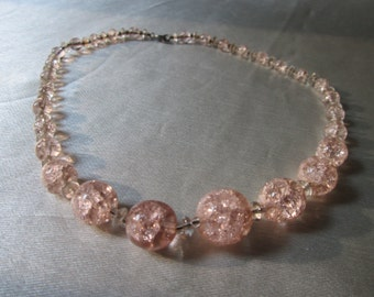 1960s PINK GLASS BEADS ,Unsigned American Costume Necklace. Bridesmaid Gift, Birthday Gift
