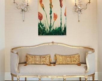 Acrylic painting tulips