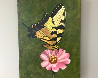 Yellow Butterfly on a Pink Zinnia
