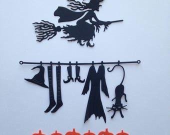 Halloween witch pumpkin embellishment Scrapbook die cut scrap deco broom scrapbooking cuts