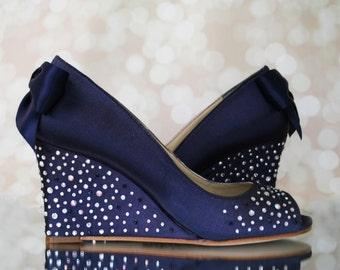 Wedge Wedding Shoes, Something Blue, Something Blue Wedding Accessories, Navy Blue Wedding Shoe, Blue Wedding Shoes, Wedding Wedges,  Wedges