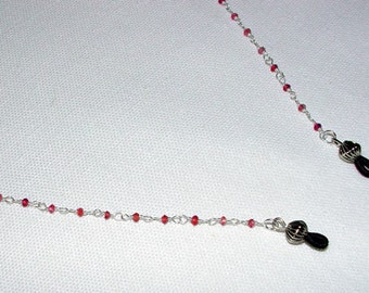 Sterling Silver and Garnet Eyeglass Chain