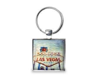 Welcome to Las Vegas - Glass Photo Keychain - Handmade