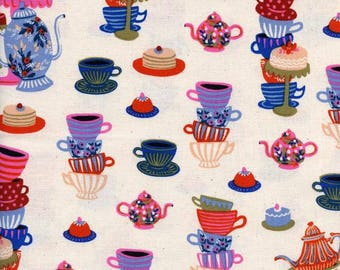 Mad Tea Party Neutral - WONDERLAND - Rifle Paper Co. for Cotton and Steel Fabrics - 8018-02