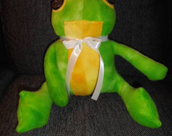 toy plush frog in fleece handmade with love stuffed animal