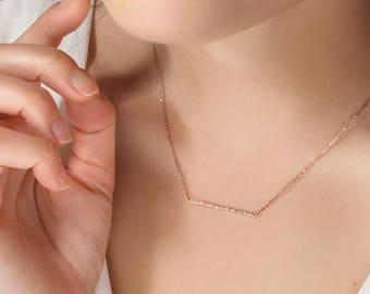 Gold Thin Bar Necklace, Diamond Gold Bar, 18K Gold Necklace, Rose Gold, Diamond Necklace, Gold Bar Necklace, White Diamond Bar, Gift For Her