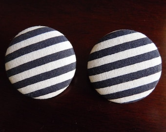 Blue and White Stripe Fabric Covered Circle Stud Earrings