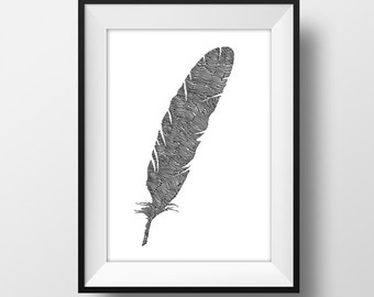 Feather Line and Circle Illustration Print 6x4 - Ink- Drawing - Art