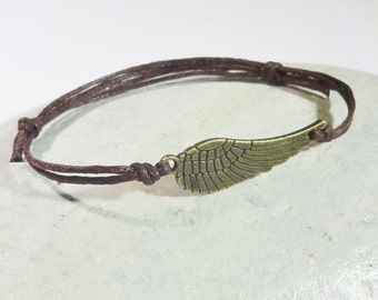 Angel Wing Bracelet or Anklet in Antique Brass, Sideways Angel Wing, Bronze Bracelet, Religious Jewelry, Christian Jewelry